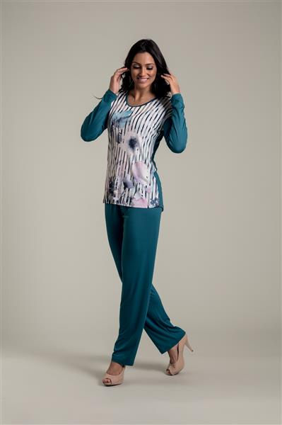 Pijama longo em microfibra e viscose