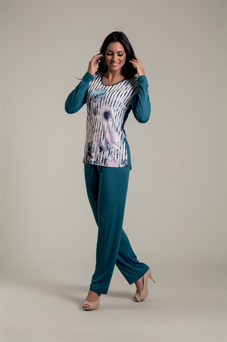 b355c5841 Pijama longo em microfibra e viscose - Recco Lingerie