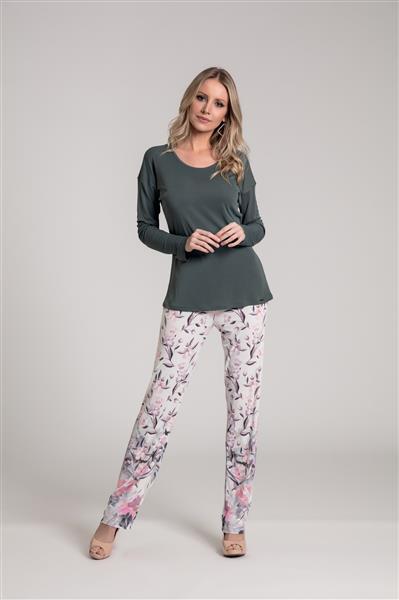 Pijama longo em microfibra