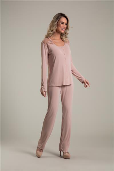 73dd97fe7c5b40 Pijama longo aberto em microfibra e renda - Compre agora | Recco ...