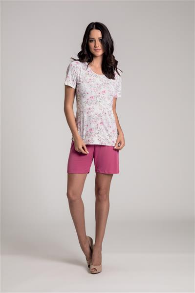Pijama manga curta com short meia coxa