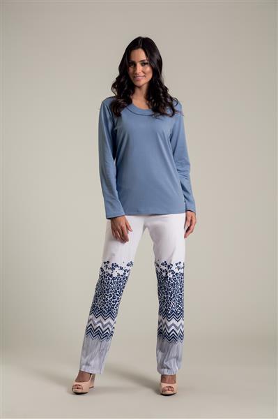 Pijama longo em malha de algodão