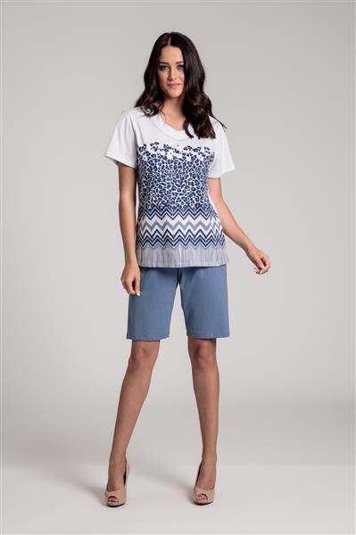 Pijama com bermuda em malha de algodão