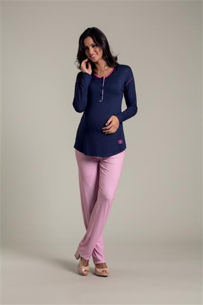 Pijama longo em viscose e viscoflex