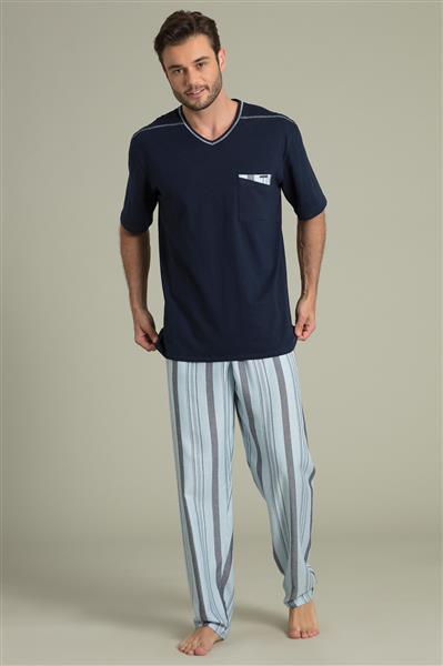 2915fb1c9b5bf5 Pijama manga curta e calça de viscose plana - Compre agora   Recco ...