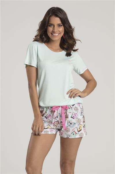8f61587eec5f7c Pijama curto de viscose e malha Touch - Compre agora | Recco Lingerie
