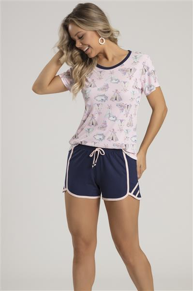 Pijama curto de microfibra e Viscose