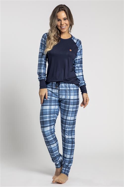 d9ba0d61fc97bc Pijama comprido de viscose stretch e cetim flanelado - Compre agora ...