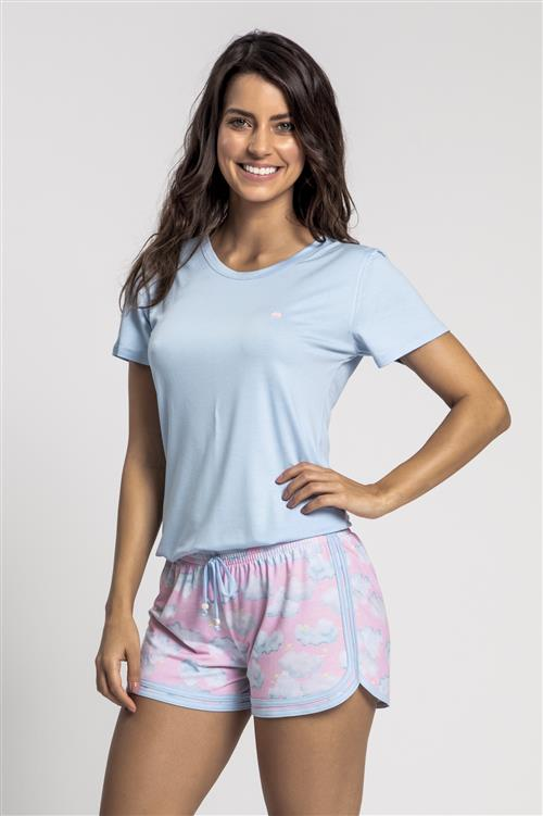 a0e91a773dbada Pijama curto de viscose stretch e malha touch Baunilha - Compre ...