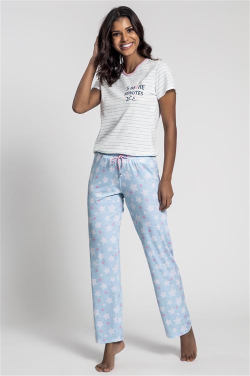 84ddb775b37889 Pijama manga curta e calça de malha algodão - Compre agora | Recco ...