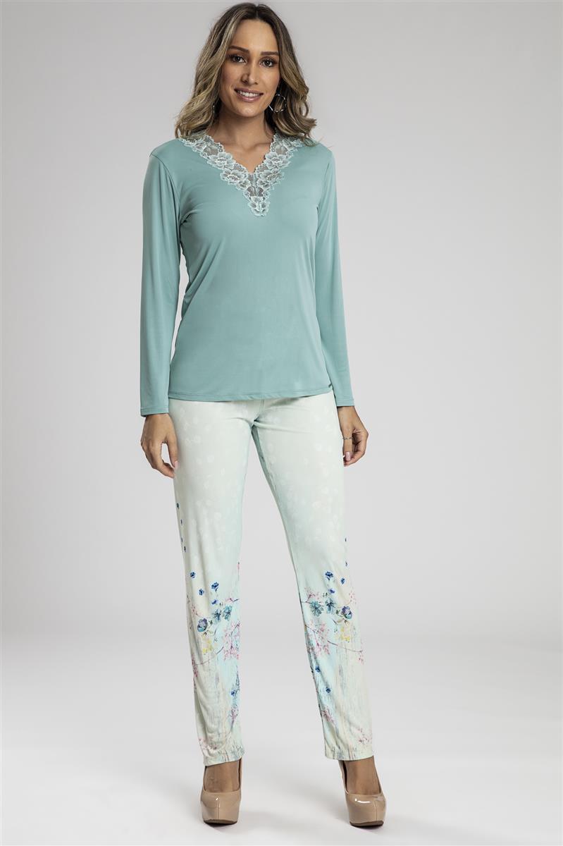 e617e11be Pijama longo em microfibra amni com renda - Compre agora