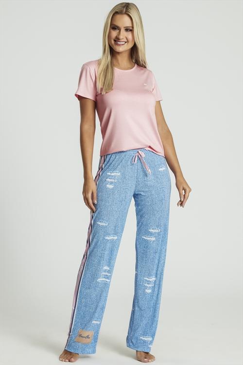 d51c5709f8191d Pijama com calça de Viscose e Microfibra - Compre agora | Recco Lingerie